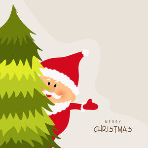 Cute Santa Claus looking behind Xmas Tree for Merry Christmas celebration.