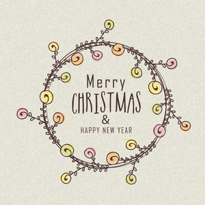 Floral design decorated greeting card design for Merry Christmas and Happy New Year celebration.