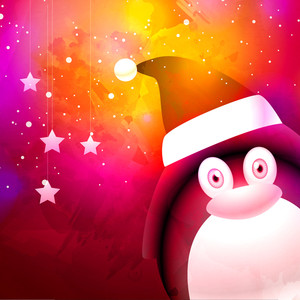 Cute penguin in Santa cap on shiny colorful background for Merry Christmas celebration.