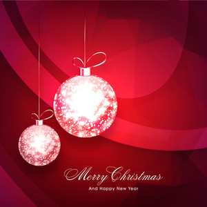 Creative sparkling Xmas Balls on shiny background for Merry Christmas and Happy New Year celebration.
