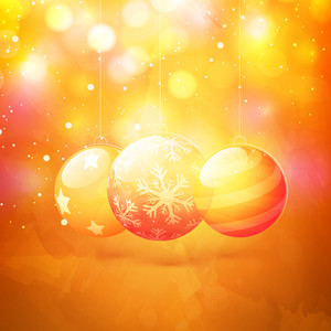 Creative glossy Xmas Balls on shiny background for Merry Christmas celebration.