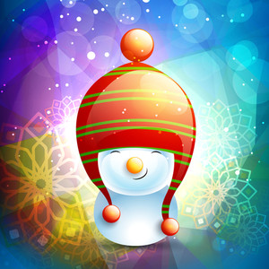 Cute smiling snowman wearing stylish cap on floral decorated shiny background for Merry Christmas celebration.