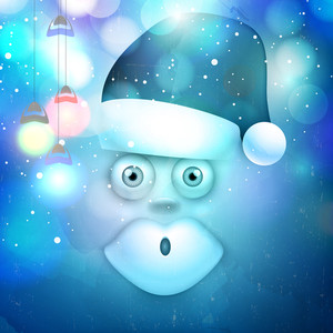 Merry Christmas celebration with creative illustration of Santa Claus and hanging lights on shiny blue background.