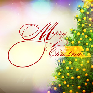 Elegant greeting card design with creative Xmas Tree on shiny background for Merry Christmas celebration.