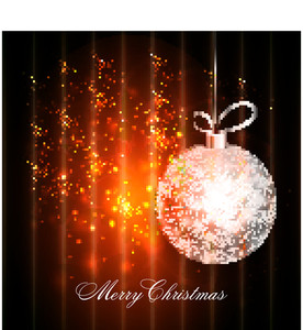 Creative greeting card design with sparkling hanging Xmas Ball on shiny background for Merry Christmas celebration.