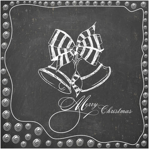 Merry Christmas celebration greeting card design decorated with creative Jingle Bells on chalkboard background.