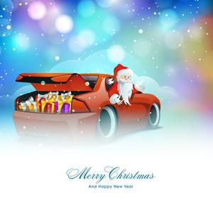 Cute Santa Claus riding a glossy red car