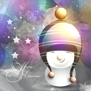 Cute smiling snowman in stylish cap on shiny colorful background for Merry Christmas celebration.
