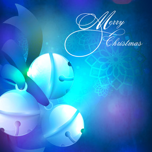 Creative glossy Jingle Bells with blue ribbon on shiny floral decorated background for Merry Christmas celebration.