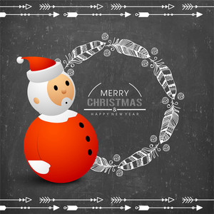 Merry Christmas and Happy New Year celebration with cute Santa Claus and floral decorated feathers on chalkboard background.