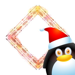 Cute penguin in Santa cap with creative feathers decorated blank frame for Merry Christmas celebration.
