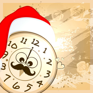 Creative clock with Santa cap