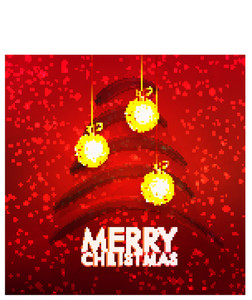 Creative greeting card design with hanging golden Xmas Balls and Tree on red background for Merry Christmas celebration.