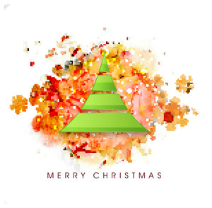 Merry Christmas celebration greeting card design on snowflakes decorated abstract background.