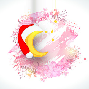 Golden hanging moon in Santa cap and stars on beautiful flowers decorated background for Merry Christmas celebration.