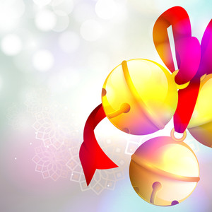 Glossy Jingle Bells with ribbon on shiny floral decorated background for Merry Christmas celebration.