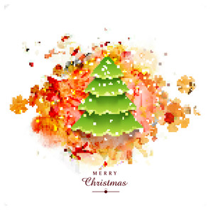 Creative Xmas Tree on snowflakes decorated beautiful abstract background for Merry Christmas celebration.