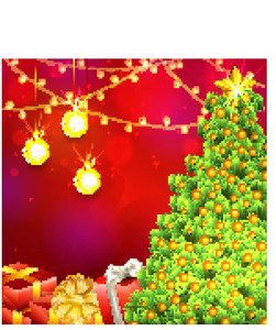 Creative glossy Xmas Tree with wrapped gifts and hanging golden Balls on lights decorated red background for Merry Christmas celebration.