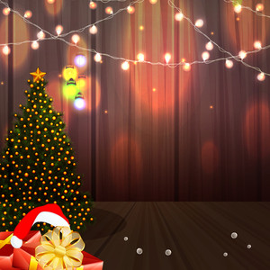 Creative Xmas Tree with glossy gifts and lights on shiny wooden background for Merry Christmas celebration.