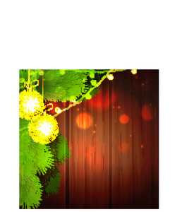 Beautiful golden Xmas Balls with Fir Tree branches on shiny wooden background for Merry Christmas celebration.