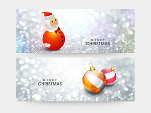 Creative website header or banner set with cute Santa Claus and Xmas Balls on silver glitter background for Merry Christmas celebration.