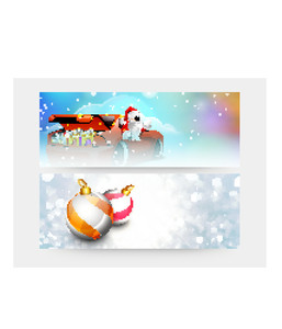 Creative glossy website header or banner set with Santa Claus riding a car and Xmas Balls for Merry Christmas celebration.
