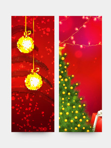 Creative website banner set with golden hanging Xmas Balls and Tree for Merry Christmas celebration.