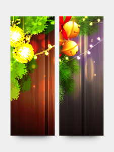 Creative website banner set with golden Xmas Balls and Jingle Bells on wooden background for Merry Christmas celebration.