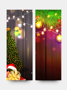 Creative website banner set with Xmas Tree
