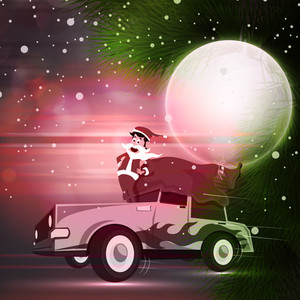 Cute Santa Claus standing on a car on beautiful night background for Merry Christmas celebration.