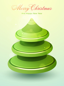 Creative glossy Xmas Tree design on shiny background for Merry Christmas and Happy New Year celebration.