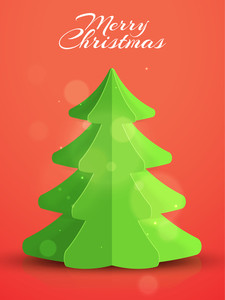 Creative Xmas Tree made by paper cutout on shiny background