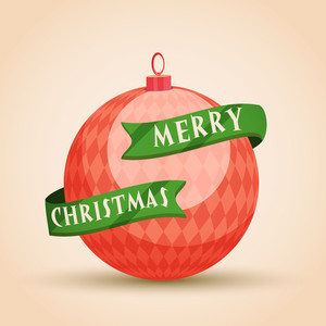 Creative glossy Xmas Ball with green ribbon on shiny background for Merry Christmas celebration.