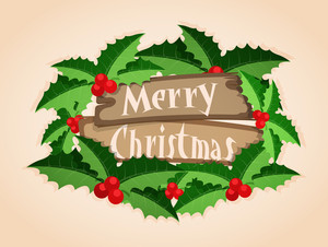 Elegant greeting card design with stylish text Merry Christmas on wooden board
