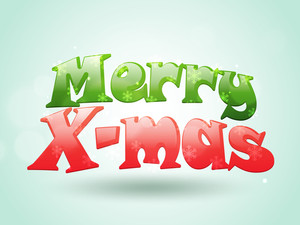 Creative glossy text Merry X-Mas on sky blue background