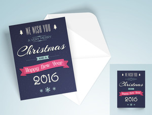 Elegant greeting card design with envelope for Merry Christmas and Happy New Year 2016 celebration.