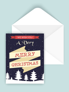 White Xmas Trees decorated greeting card design with envelope for Merry Christmas celebration.