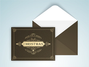 Elegant creative greeting card design with envelope for Merry Christmas celebration.