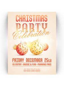 Creative invitation card design with stylish Xmas Balls for 25th December