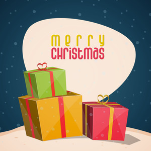 Colorful gifts decorated greeting card for Merry Christmas celebration.