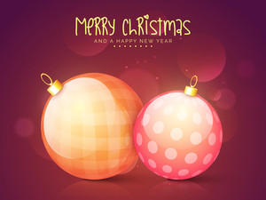 Elegant greeting card design with glossy Xmas Balls on shiny background for Merry Christmas and Happy New Year celebrations.