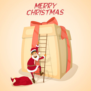 Illustration of a Santa Claus climbing on a big glossy gift by ladder for Merry Christmas celebration.