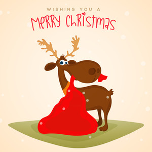 Merry Christmas celebration with cute Reindeer holding gift sack by mouth on stylish background.