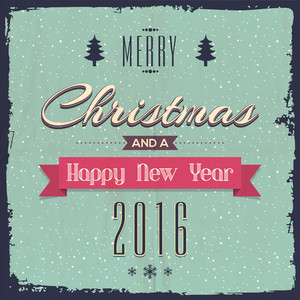 Vintage greeting card design for Merry Christmas and Happy New Year 2016 celebration.