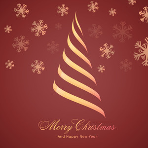 Creative Xmas Tree design on snowflakes decorated background for Merry Christmas and Happy New Year celebration.