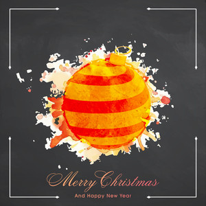 Elegant greeting card design with creative grungy Xmas Ball on chalkboard background for Merry Christmas and Happy New Year celebration.