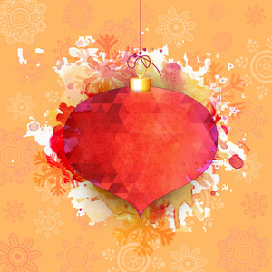 Creative Xmas Ball on snowflakes decorated abstract background for Merry Christmas celebration.