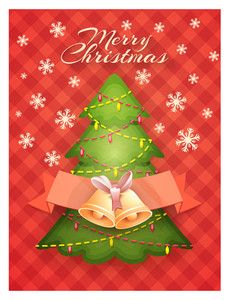 Creative Xmas Tree with blank ribbon and Jingle Bells on snowflakes decorated background for Merry Christmas celebration.