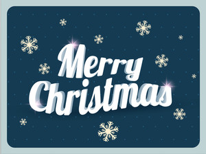 Stylish 3D text Merry Christmas on snowflakes decorated blue background.