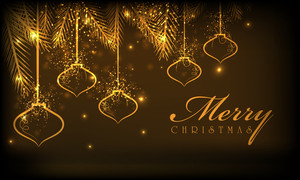 Beautiful card or poster with shiny golden lamps and stylish text of Merry Christmas on brown background.